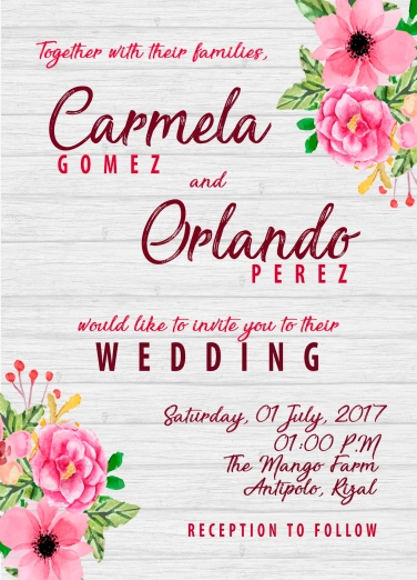 Wedding Invitation: Rustic Theme